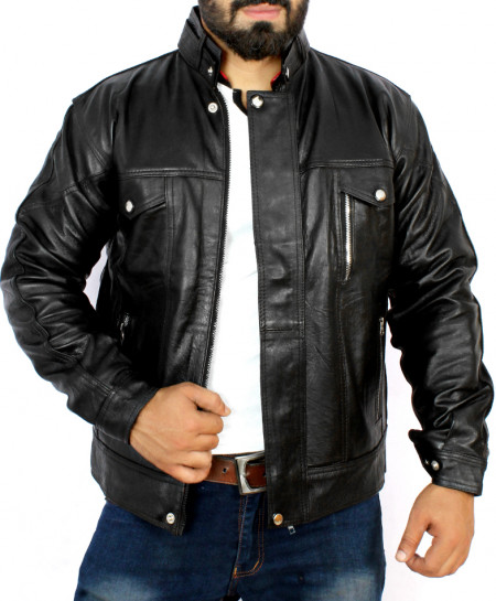 Black 2 Zipper Pocket Style Leather Jacket