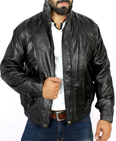 Black 4 Pocket Style Double Collar Leather Jacket