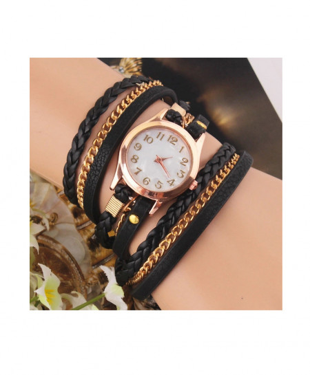 Black Multi Strap Ladies Bracelet Watch AM-249