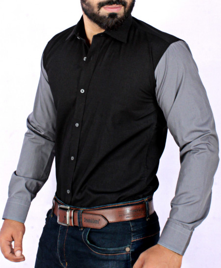 Black With Grey Contrast Stylish Shirt FW-07