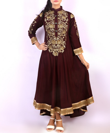 Brown Embroidered Stylish Long Kurti KC-3339