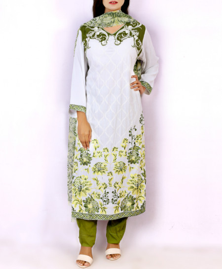 White Green Embroidered Stylish Ladies Suit KC-3360