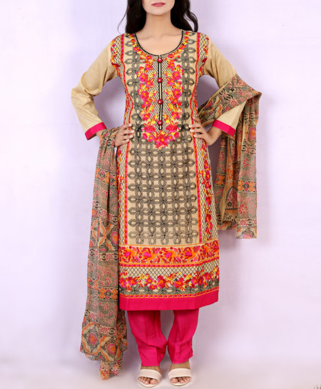 Brown Pink Embroidered Stylish Ladies Suit KC-3368