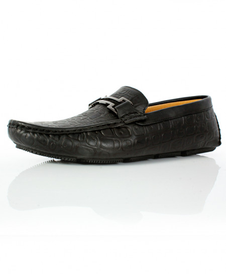 Black Stitched Buckle Style Loafer Shoes CB-2080