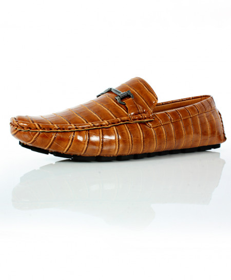 Brown Stitched Buckle Design Loafer Shoes CB-2098