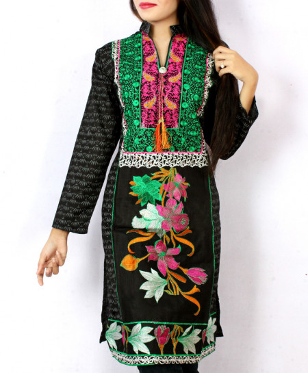 Black Emerald Embroidered neck Ladies Kurti ARB-3106