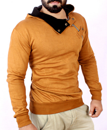 Cross Zipper Fleece Brown Hoodie FS-2510