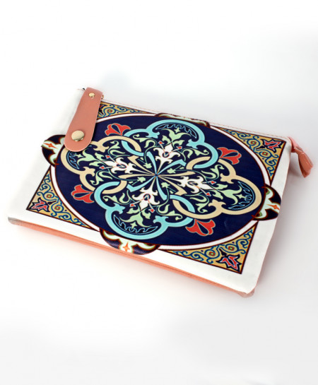 Blue Printed Design Stylish Ladies Clutch GL-1209