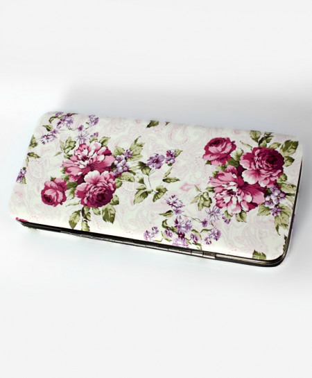 White Floral Printed Design Stylish Clutch GL-1215