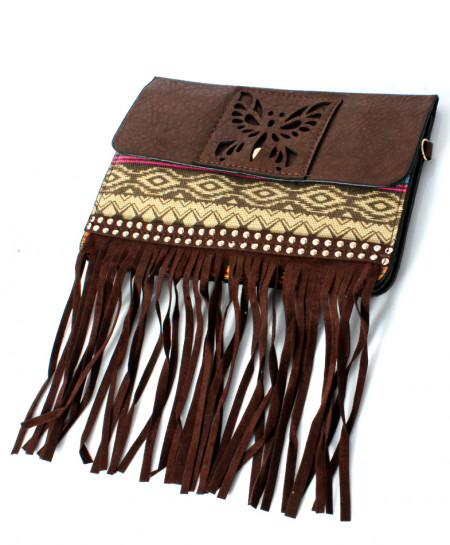 Brown Stripping Flap Over Design Stylish Clutch GL-1221