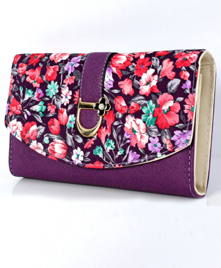 Purple Floral Design Stylish Ladies Clutch GL-1229