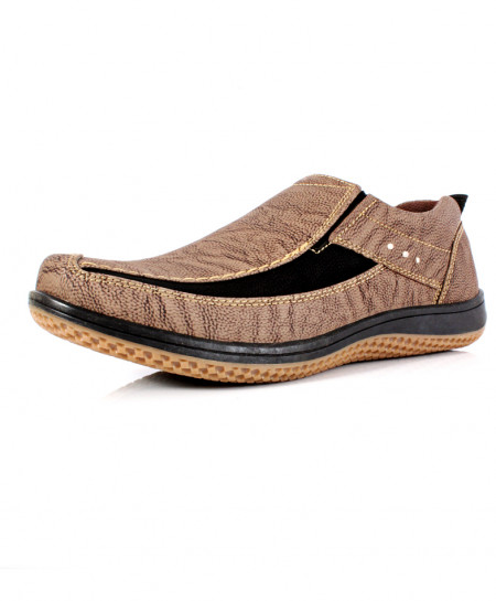 Light Brown Stitched Design Slip On Shoes SC-12