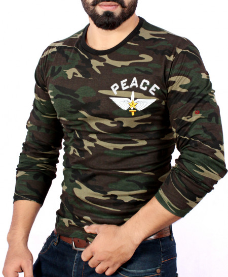 Peace Army Camouflage Full Sleeve T-Shirt-QZS-080