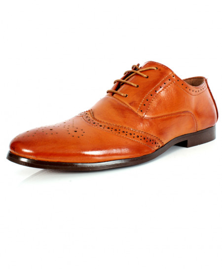Brown Front Stitched Design Formal Shoes CB-2121