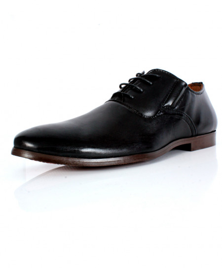 Plain Black Stitched Design Formal Shoes CB-2123