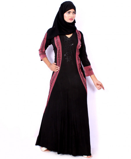 Black Pink Stylish Diamante Design Abaya VRJ-2718