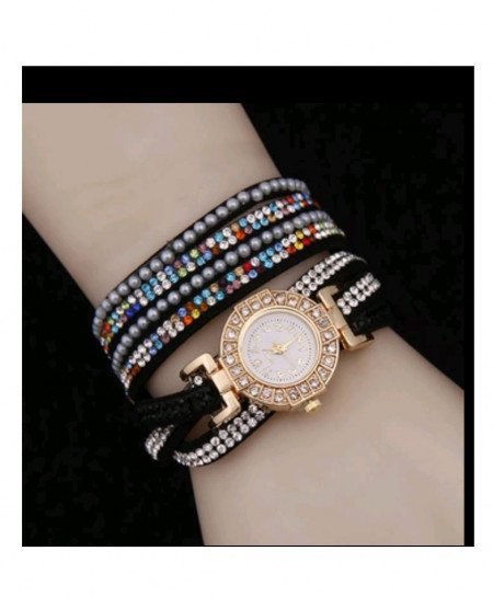 Black Rhinestone Stylish Ladies Watch AM-262