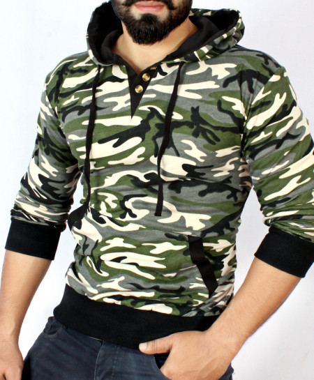 Camouflage Terry Black Tipping Pullover Hoodie FS-1026