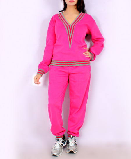 Pink V Neck Tipping Winter Ladies Track Suit PS-1243