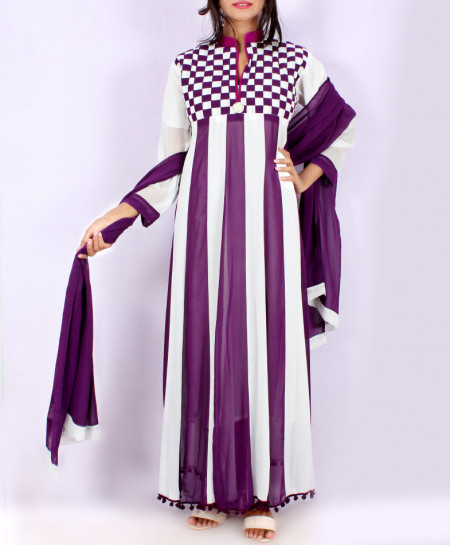 Purple White Stripping Stylish Long Suit KC-3375
