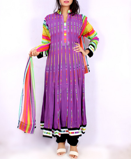Purple Embroidered Stylish Long Suit KC-3377