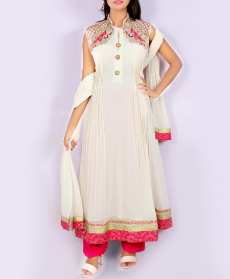 White Front Embroidered Stylish Ladies Suit KC-3393