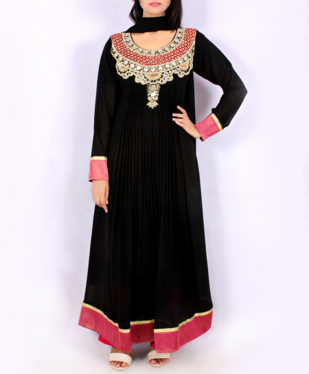 Black Front Embroidered Stylish Ladies Suit KC-3394