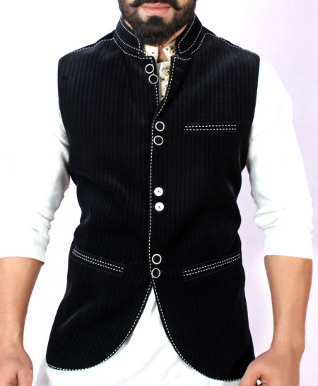 Black White Stylish Design Waistcoat FD-1003
