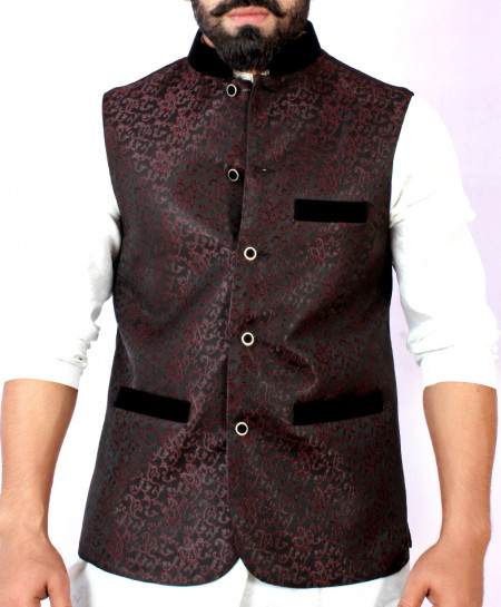 Black Maroon Stylish Design Waistcoat FD-1009