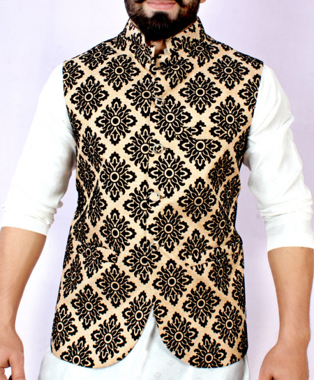 Fawn Black Stylish Design Waistcoat FD-1011