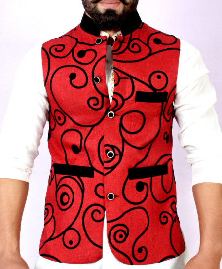 Red Black Stylish Design Waistcoat FD-1012