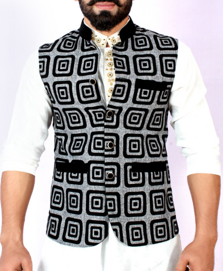 Light Grey Black Stylish Design Waistcoat FD-1013