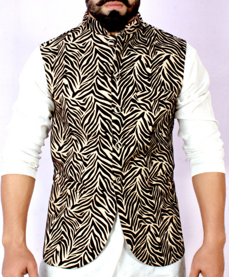 Brown Black Stylish Design Waistcoat FD-1015