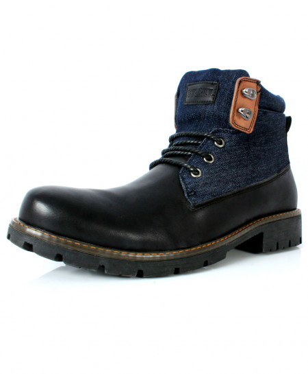 Black Blue Stitched Design Casual Boots CR-2721