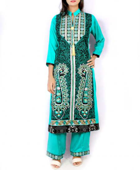 Sky Blue Front Embroidered Stylish Ladies Suit KC-3421