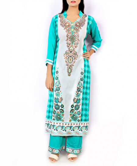 Sky Blue Front Embroidered Stylish Ladies Suit KC-3423