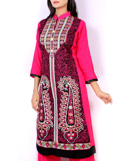 Pink Front Embroidered Stylish Ladies Suit KC-3424