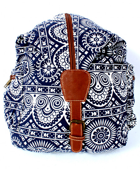 Blue Brown Vintage Canvas Ladies Backpack GL-1230