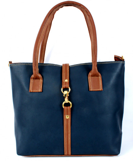Navy Brown Stitched Design Ladies Handbag WT-3008