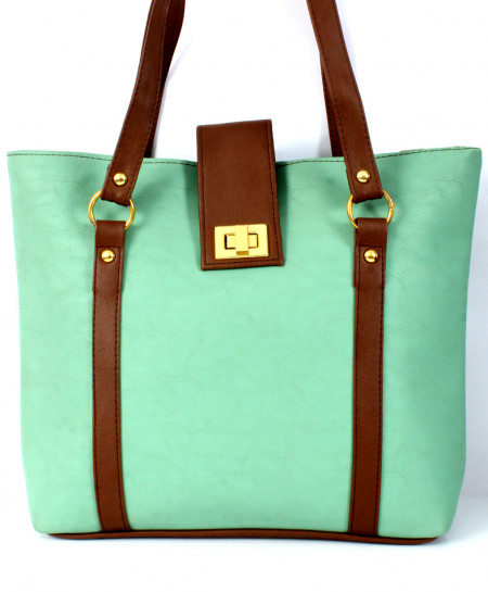 Sky Blue Brown Plain Stylish Ladies Handbag WT-3009
