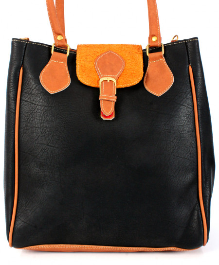 Black Orange Strap Design Ladies Handbag WT-3013
