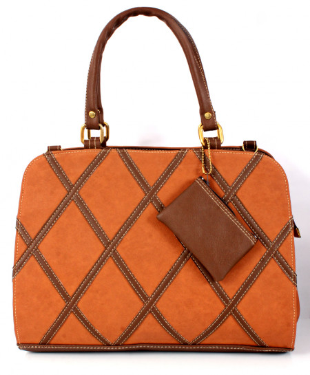 Brown Choco Stitched Design Ladies Handbag WT-3016