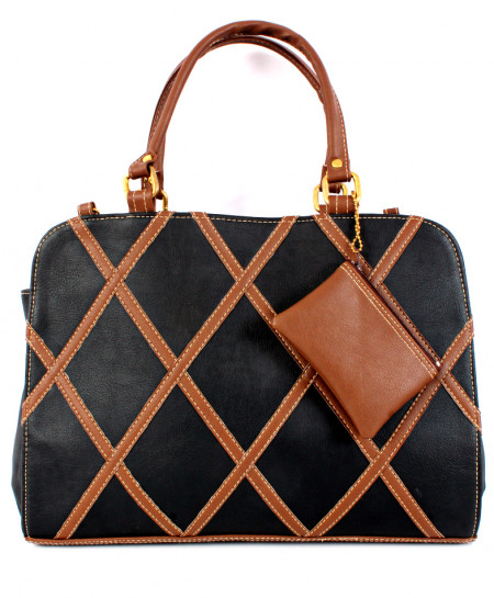 Black Brown Stitched Design Ladies Handbag WT-3020