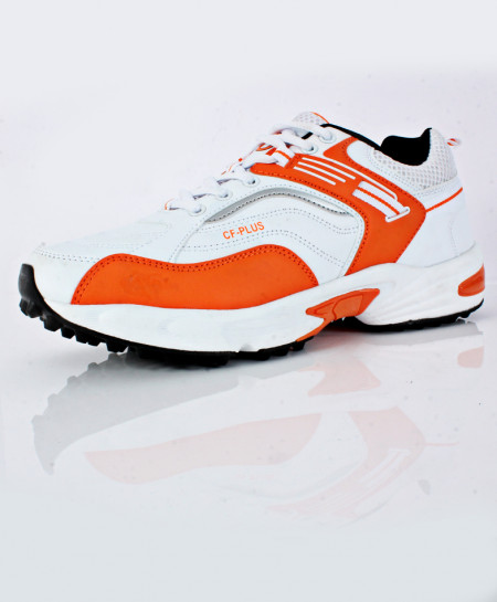 White Orange Stitched Design Sports Shoes DR-338