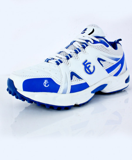 White Blue Stitched Dotted Design Sports Shoes DR-340