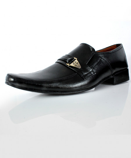 Black Stitched Side Buckle Style Formal Shoes DR-350
