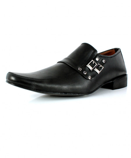 Black Stitched Side Dual Buckle Formal Shoes DR-351