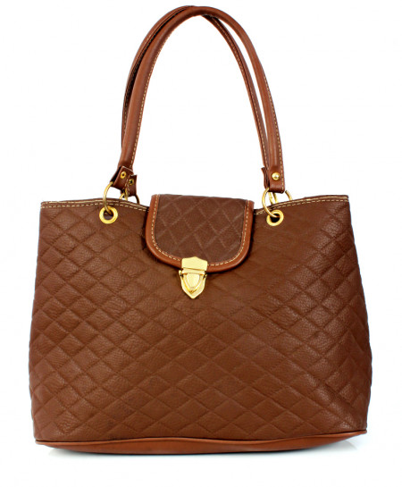 Choco Brown Hook Lock Stylish Ladies Handbag WT-3034