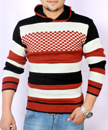 MultiColor Striper Stylish Hooded Sweater KG-9