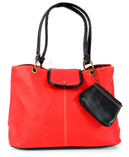 Red Black Stitched Design With Pouch Handbag WT-3036